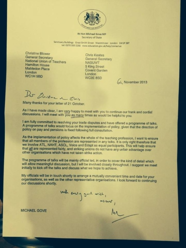 Gove letter about meeting with NUT/NASUWT - to think that we traded our November national strike for this ....